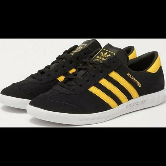 pretty nice c0744 22d97 Adidas Hamburg Originals Black Yellow Suede Retro